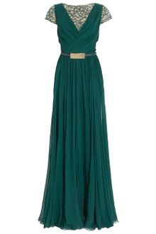Elie Saab Cap Sleeves Lace Detail Gown - Lyst