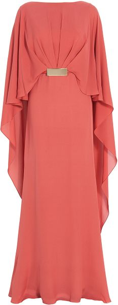 Elie Saab Cape Style Georgette Gown in Red (gold) - Lyst