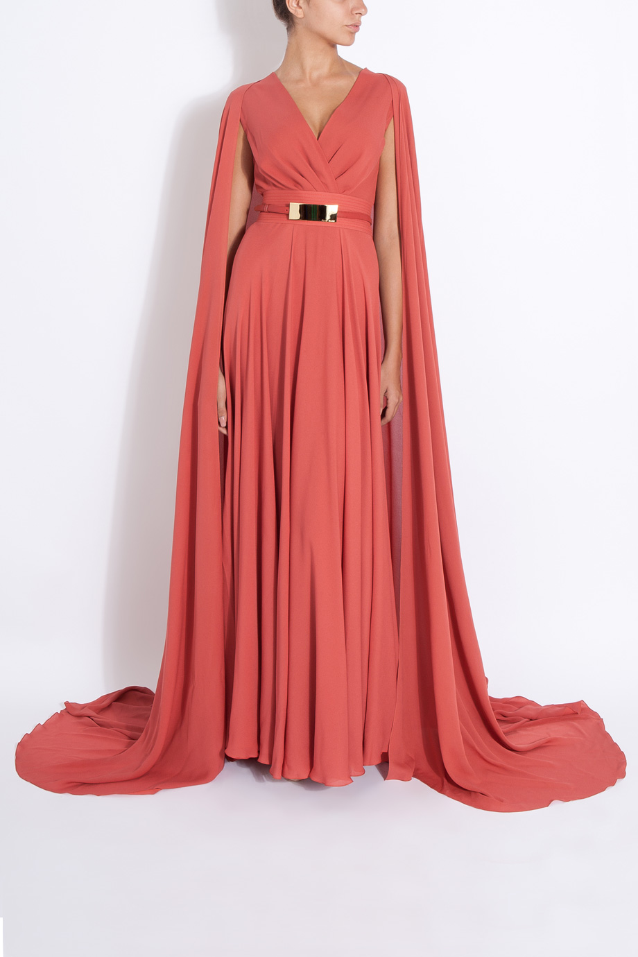 Lyst - Elie Saab Long Cap Detail Gown in Red