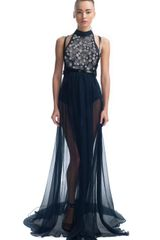 Jason Wu Ss Beaded Halter Gown in Black (gold/black) - Lyst