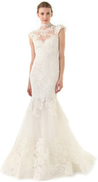 Marchesa Lace Gown with Illusion Neckline in White (cream) - Lyst