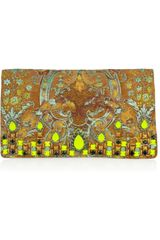 Matthew Williamson Crystal Embellished Brocade Suede Clutch