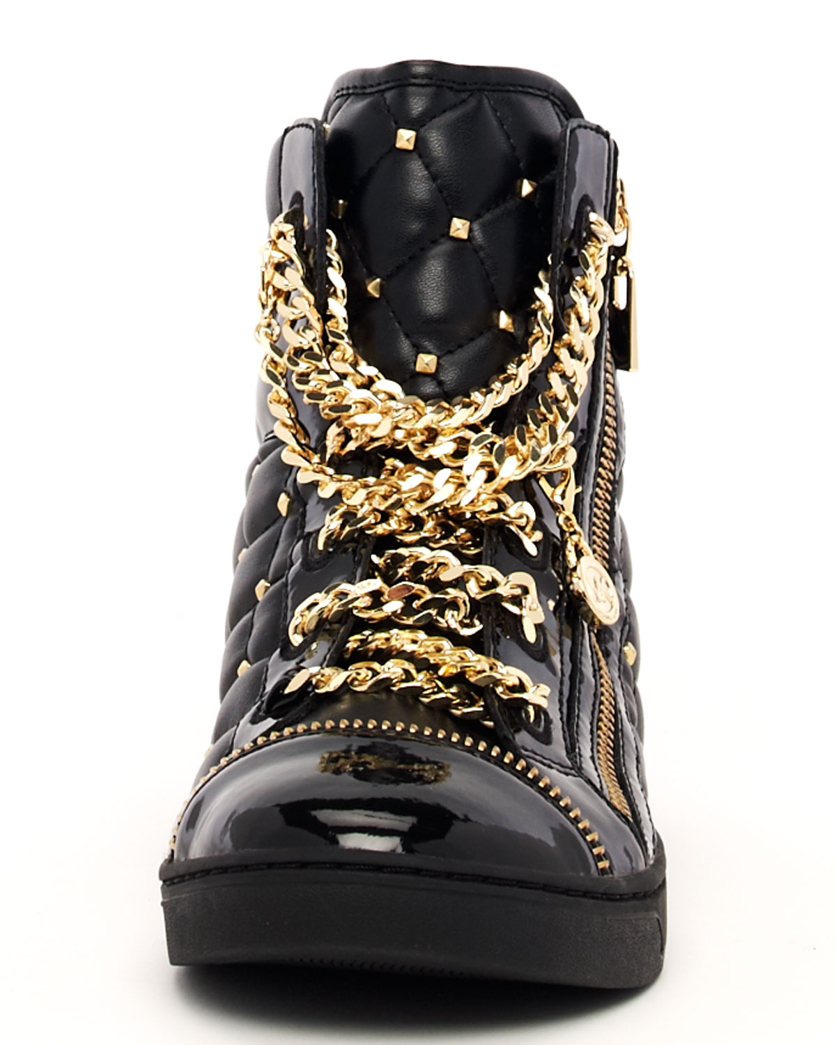 Lyst Michael Kors Chainlace Quilted Hightop In Metallic