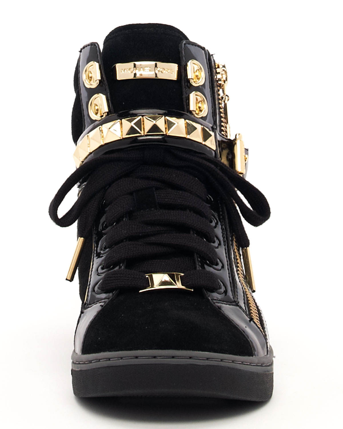 Michael Kors Studded Hightop In Gold Black Lyst