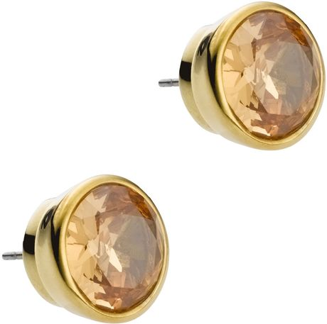 Michael Kors Crystal Stud Earrings in Gold (golden topaz) - Lyst