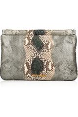 Miu Miu Python Effect Glossed Leather Clutch - Lyst