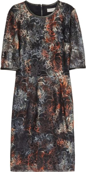 Mulberry Leather Trimmed Tie Dye Lace Dress in Multicolor (multicolored)