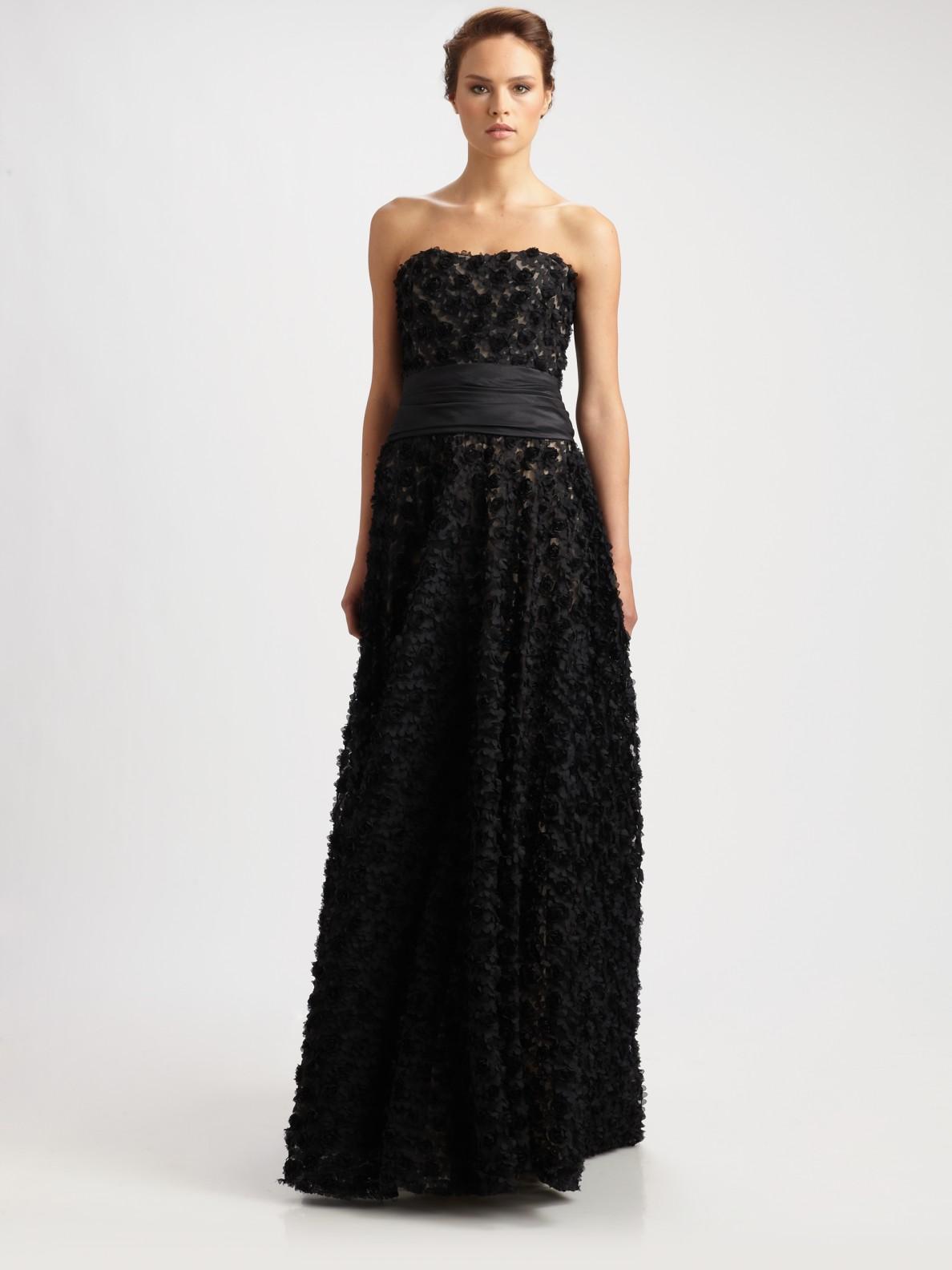 Lyst - Marchesa notte Strapless Silk Gown in Black