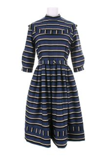 Olympia Le-Tan Cotton Dress with Striped Pattern - Lyst