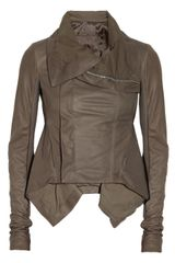 Rick Owens Naska Leather Biker Jacket in Gray - Lyst