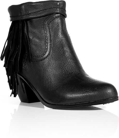 sam edelman black leather louie ankle boots in black lyst