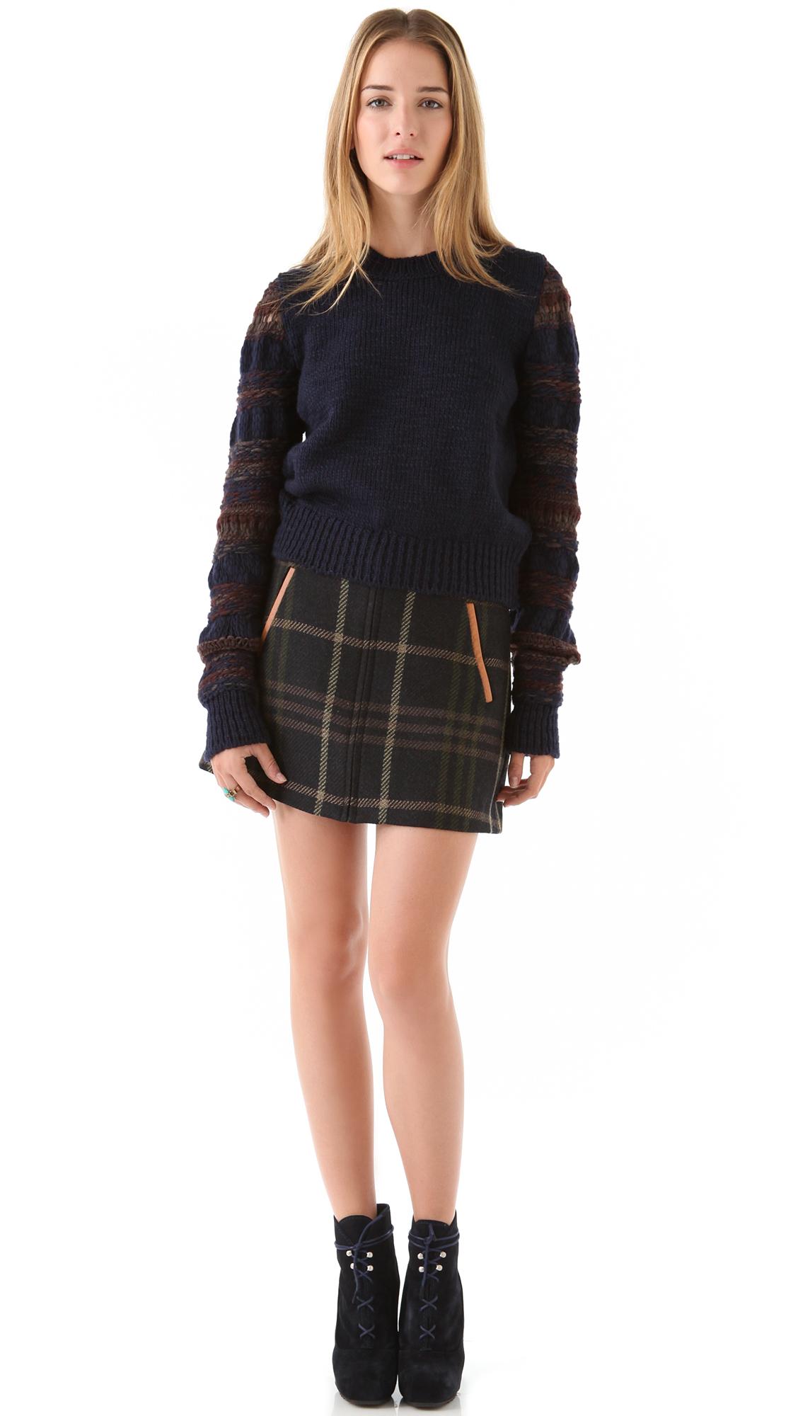 Thakoon addition Plaid Mini Skirt in Green   Lyst