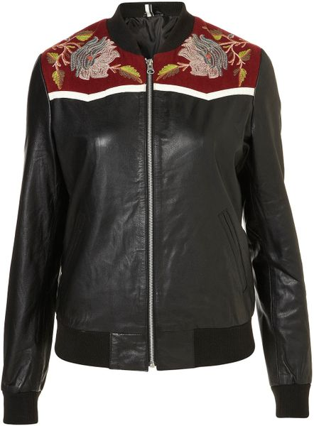 Topshop Woodland Bomber Jacket in Black