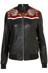 Topshop Woodland Bomber Jacket in Black - Lyst