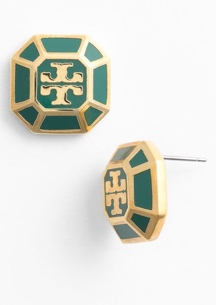 Tory Burch Rylan Logo Small Stud Earrings in Green (malachite/ gold) - Lyst
