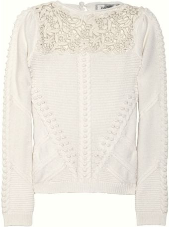 Valentino Lace and Cable Knit Wool and Cashmere Blend Sweater - Lyst