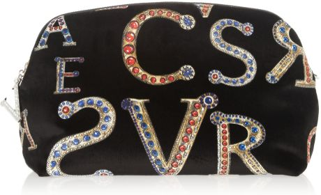 Versace Printed Velvet Clutch in Black
