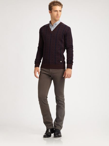 Versace Jacquard Printed V-Neck Sweater in Purple for Men