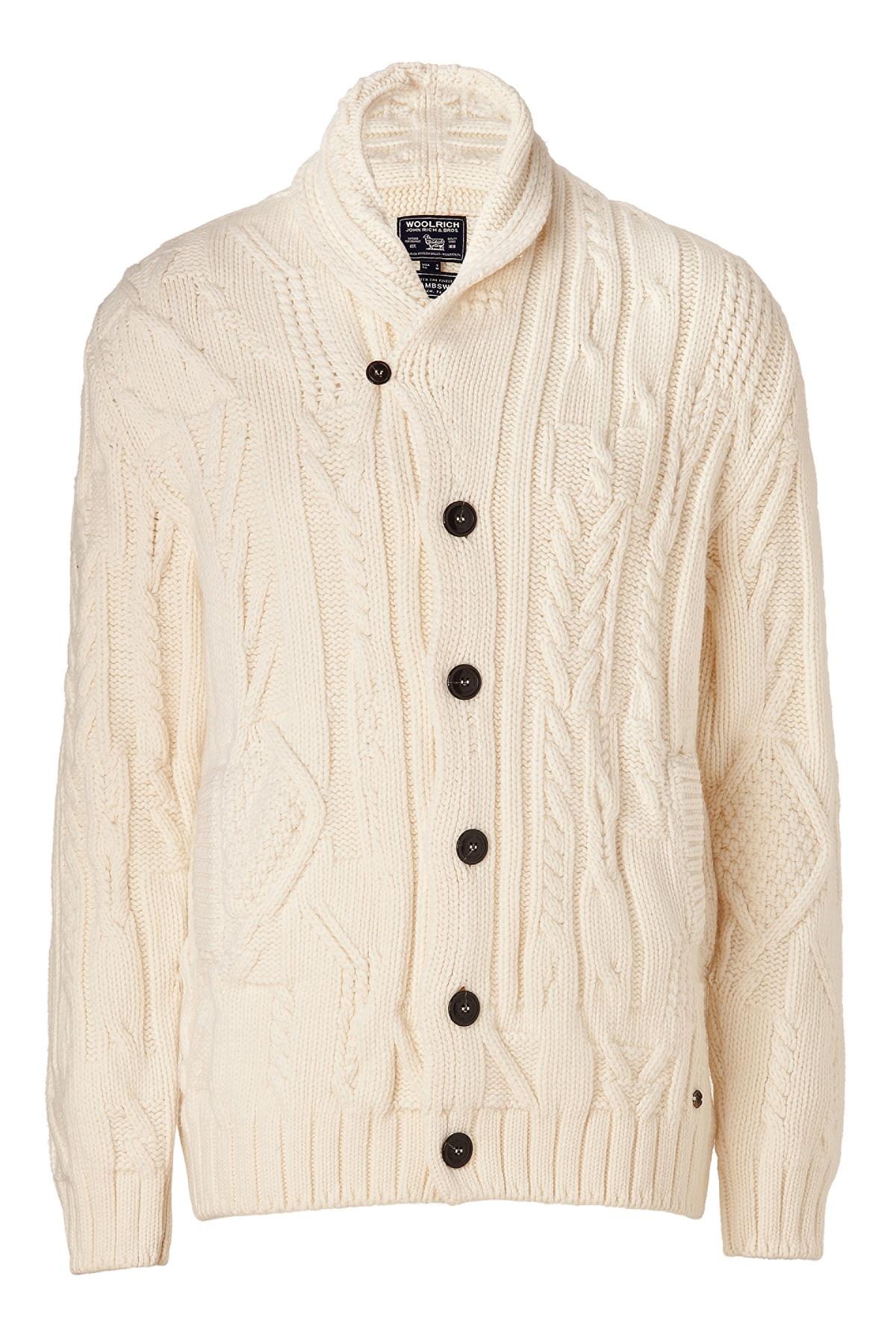 Woolrich White Wool Shawl Collar Aran Cardigan in Natural for Men ...