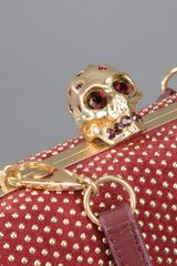 Alexander Mcqueen Studded Skull Box Clutch in Red (burgundy) - Lyst