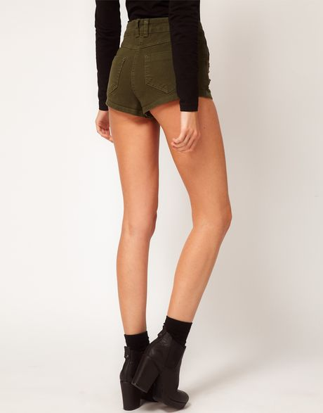 asos collection high waisted denim shorts in khaki with