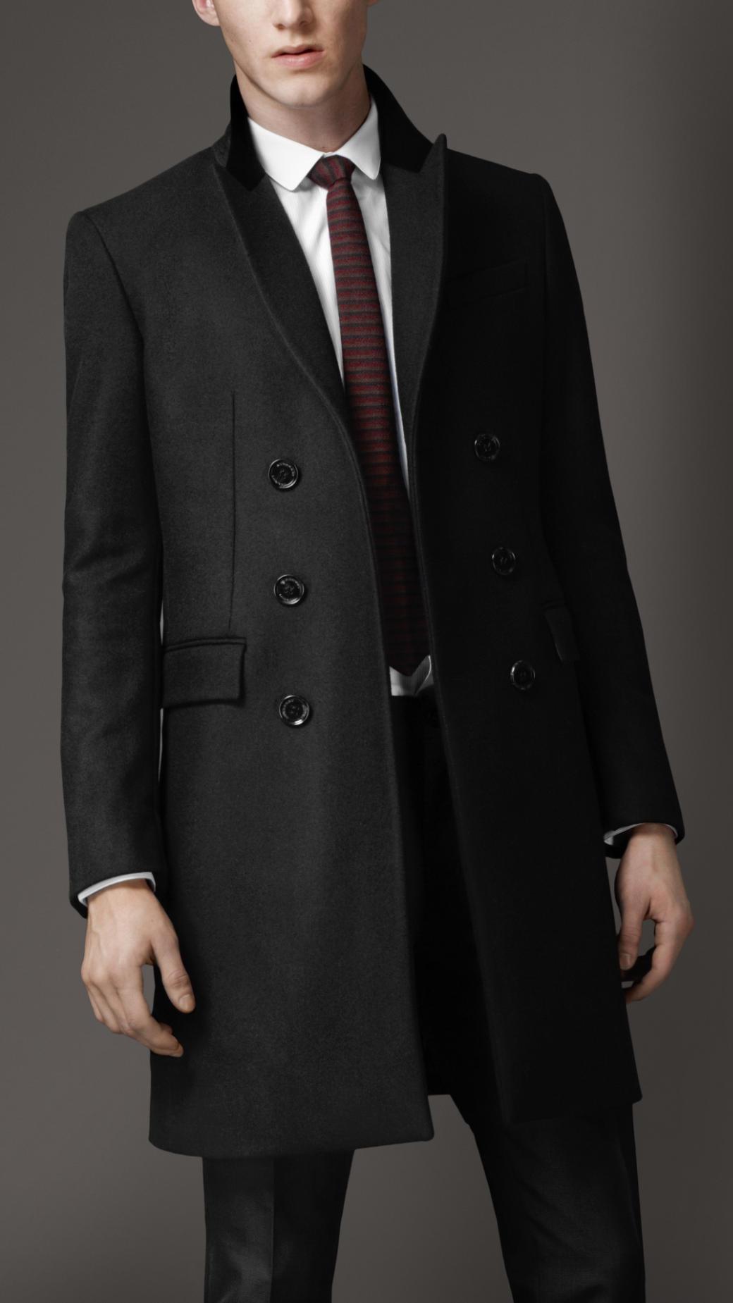 Burberry Velvet Collar Top Coat In Black For Men