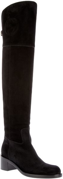 Gucci Tigh Length Boot in Black - Lyst