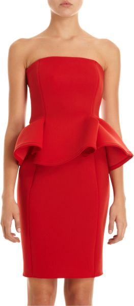 Lanvin Strapless Peplum Dress in Red - Lyst