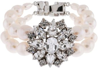 Martine Wester Bridal Crystal and Pearl Bracelet - Lyst