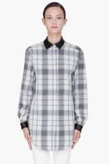 Pierre Balmain Grey Leather Collar Flannel Blouse - Lyst