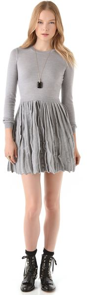 RED Valentino Sweater Dress with Pleated Skirt - Lyst