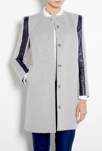 Sophie Hulme 3d Sleeve Wool Leather Coat - Lyst