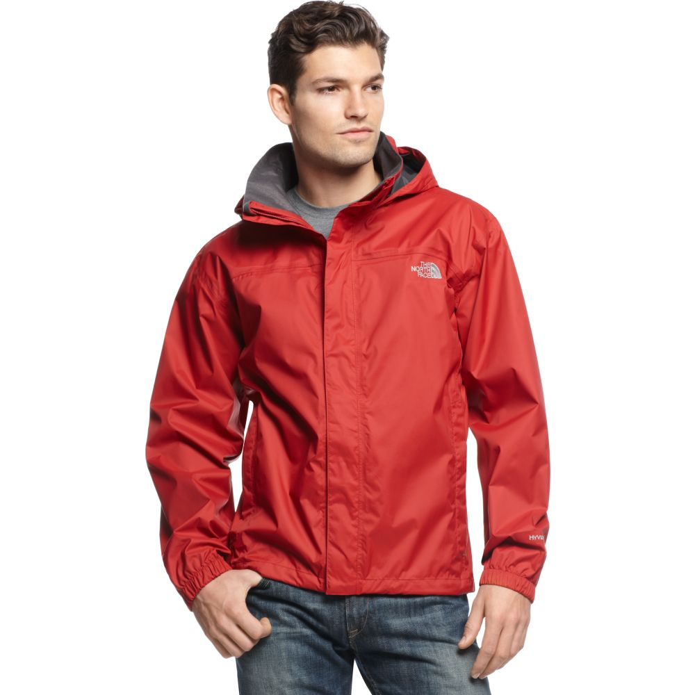 The north face Resolve Waterproof Rain Jacket in Red for Men | Lyst