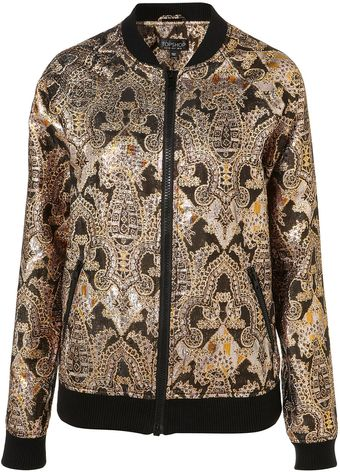 Topshop Indian Jacquard Bomber Jacket - Lyst