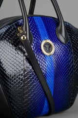 Versace Striped Tote Bag in Blue (black) - Lyst