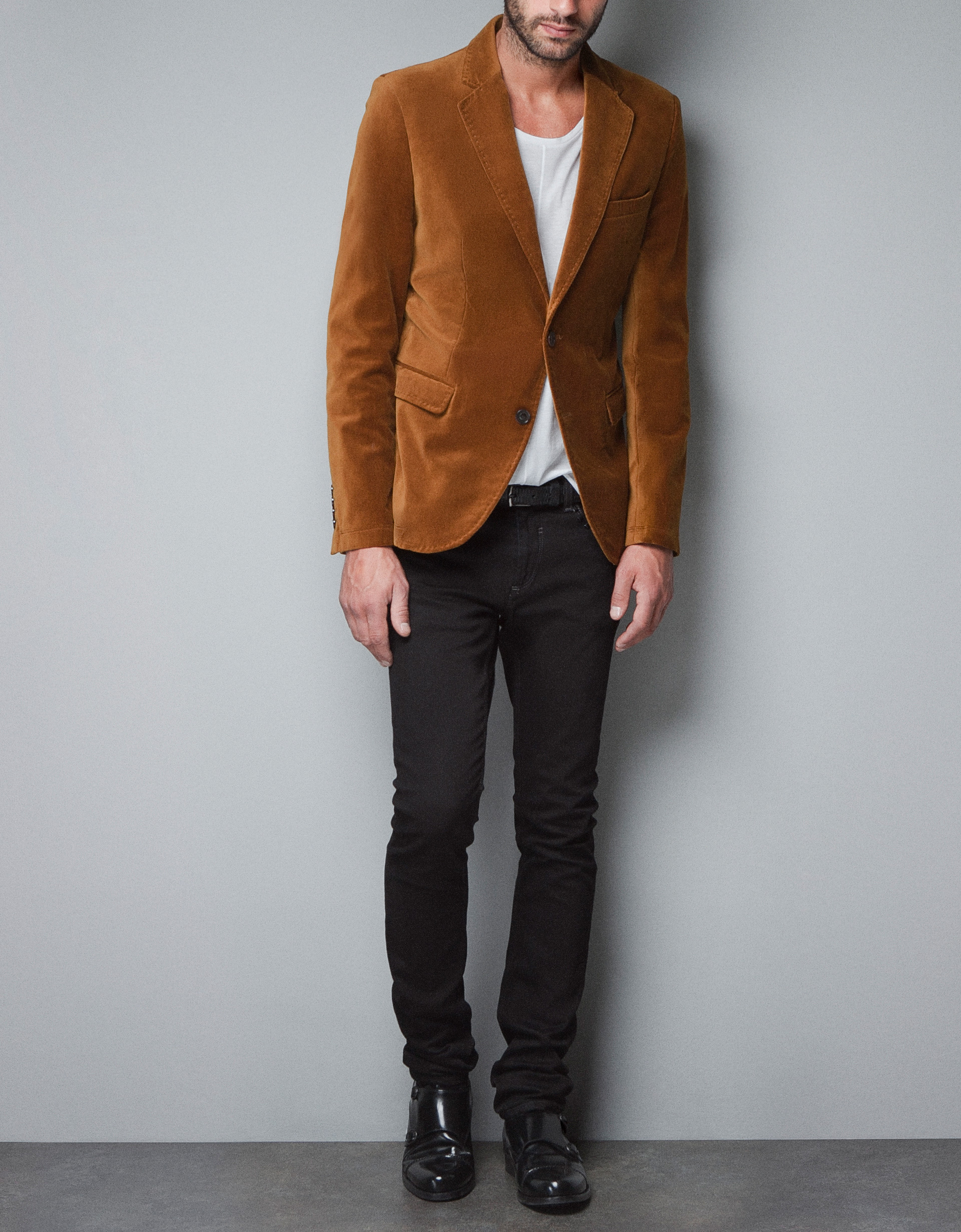 Zara Velvet Blazer in Yellow for Men | Lyst