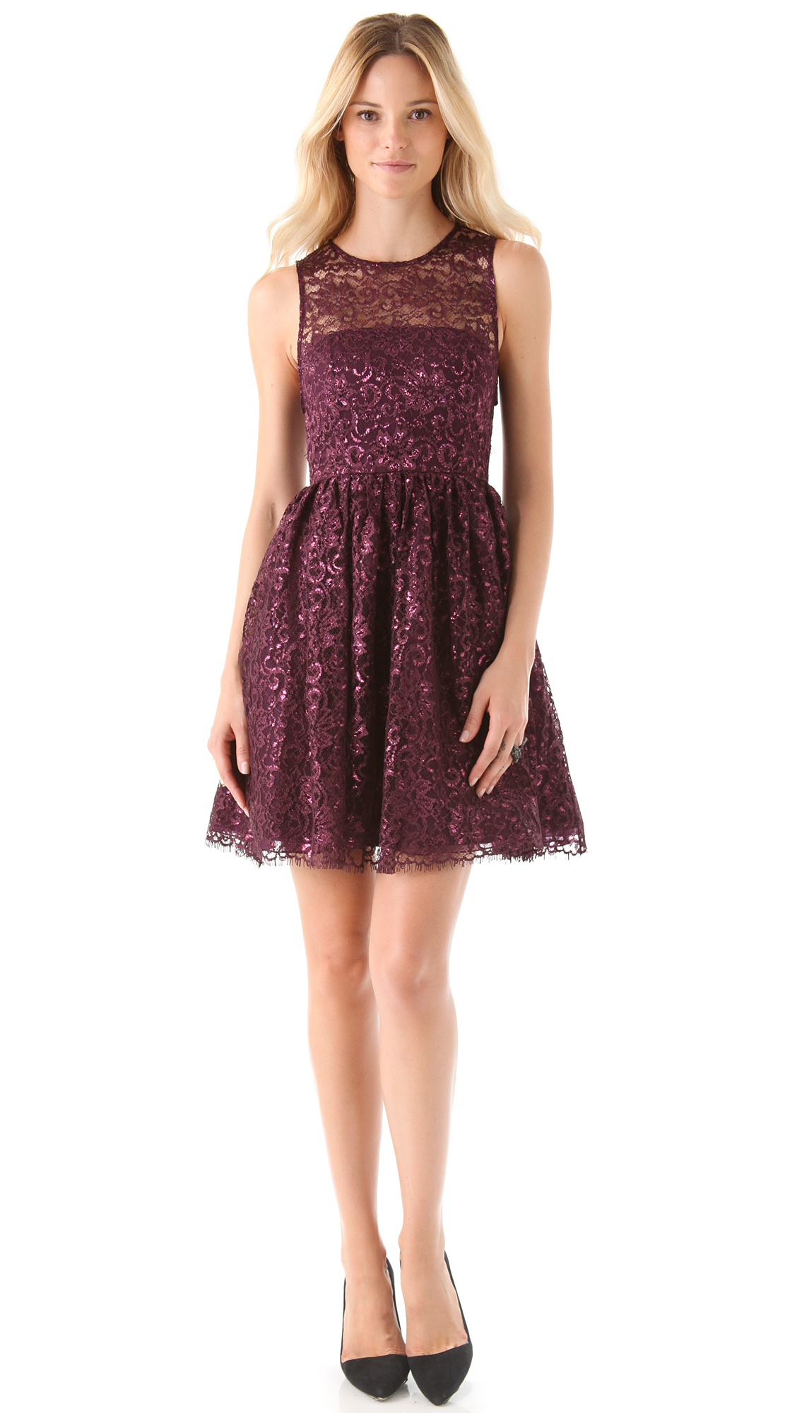 Alice Olivia Ophelia Lace Dress In Purple Lyst