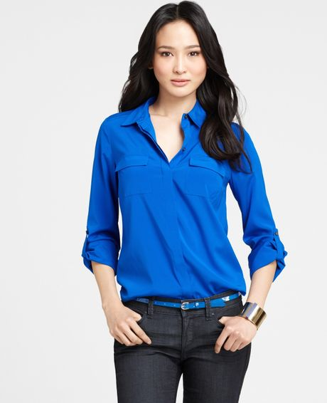 Ann taylor stretch silk button down camp shirt in blue for Womens stretch button down shirt