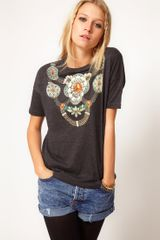 ASOS Collection Asos Tshirt with Jewel Print Necklace - Lyst