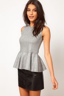 ASOS Collection Asos Top with Peplum in Hologram Metallic - Lyst