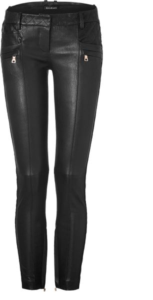 Balmain Black Low Rise Skinny Leather Pants in Black - Lyst