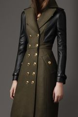 Burberry Leather Sleeve Coat - Lyst
