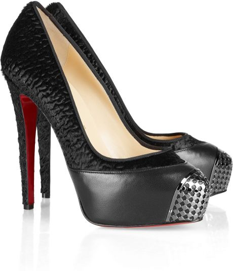 Christian Louboutin Maggie 140 Leather Trimmed Calf Hair Pumps in Black