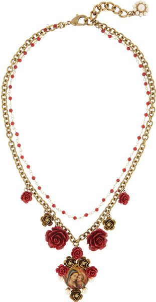 Dolce & Gabbana  Glass Pearl Virgin Mary Necklace in Red (gold) - Lyst