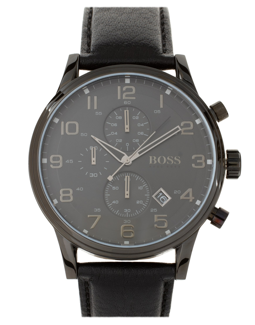 Boss boss by boss leather watch in black for men lyst for Hugo boss watches