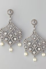 Kenneth Jay Lane Pave Crystal Pearl Clip Earrings - Lyst