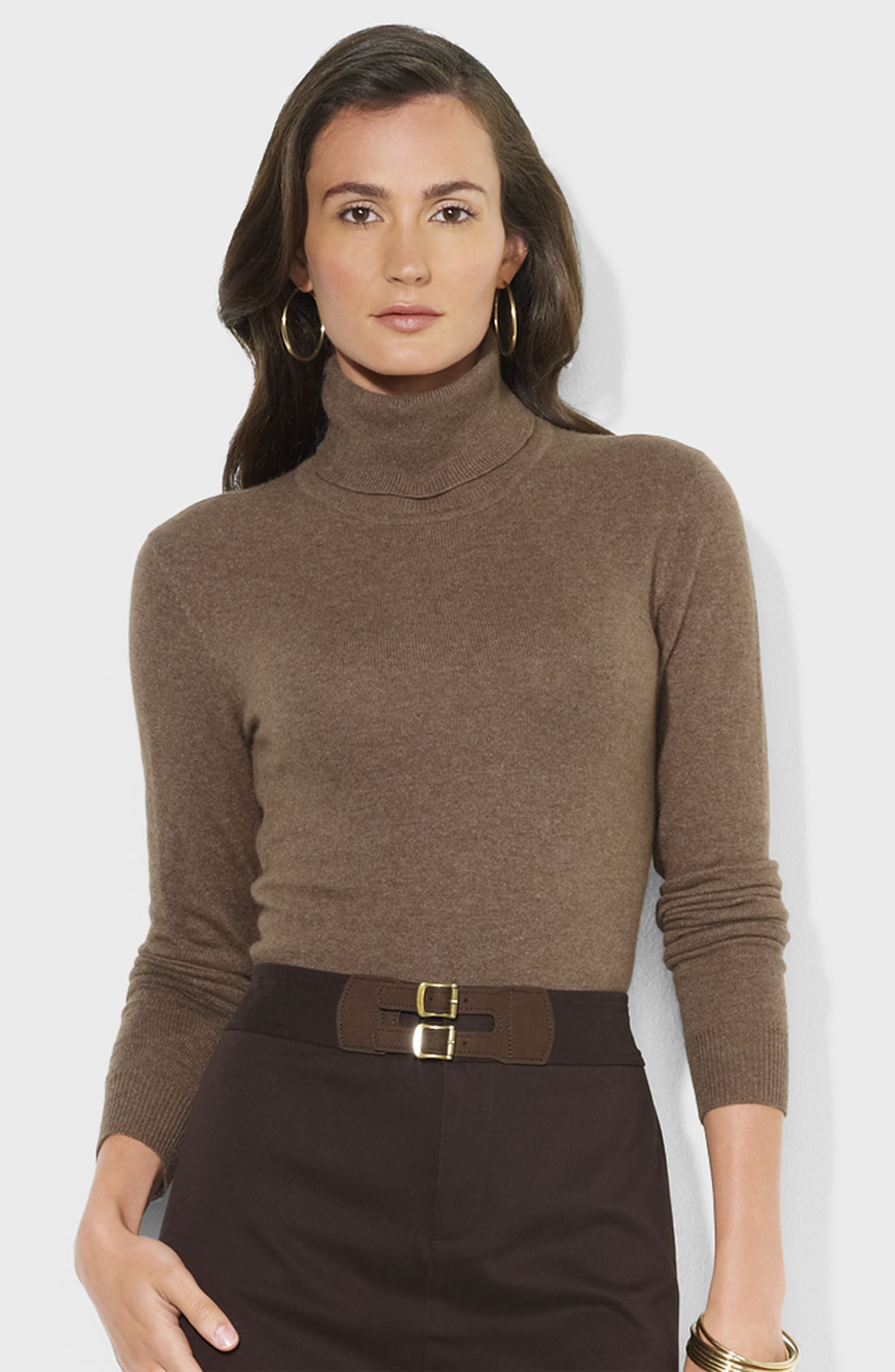 Lauren by ralph lauren Cashmere Turtleneck Sweater in Brown | Lyst