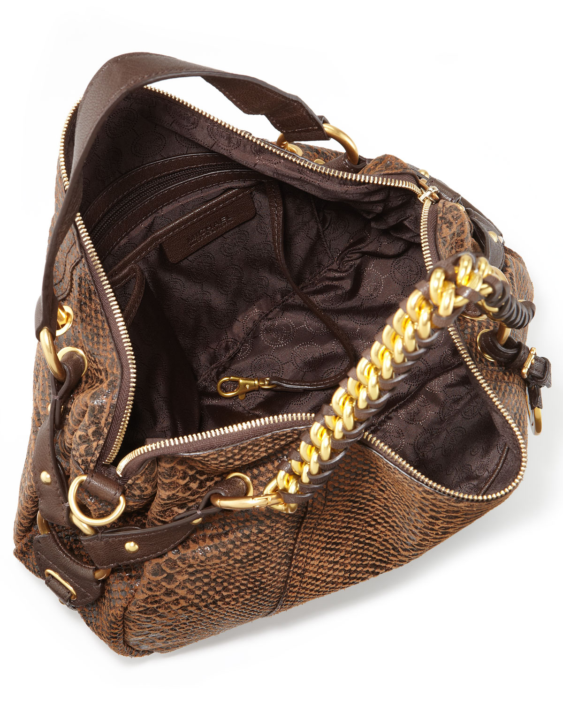 edc0b8c34d4a ... official lyst michael kors medium tristan python embossed satchel in  brown 66b18 fe089