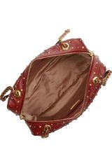Miu Miu Studded Leather Shoulder Bag in Brown (red) - Lyst