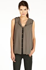 Oasis Colourblock Dip Hem Sl Shirt in Gray (khaki) - Lyst